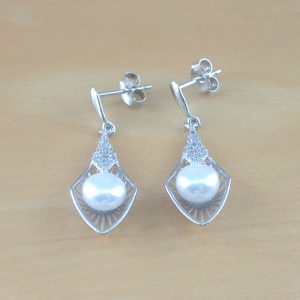 silver freshwater pearl drop earrings