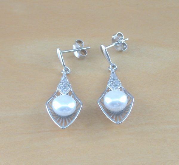 silver freshwater pearl drop earrings