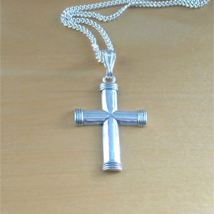 silver mens cross pendant