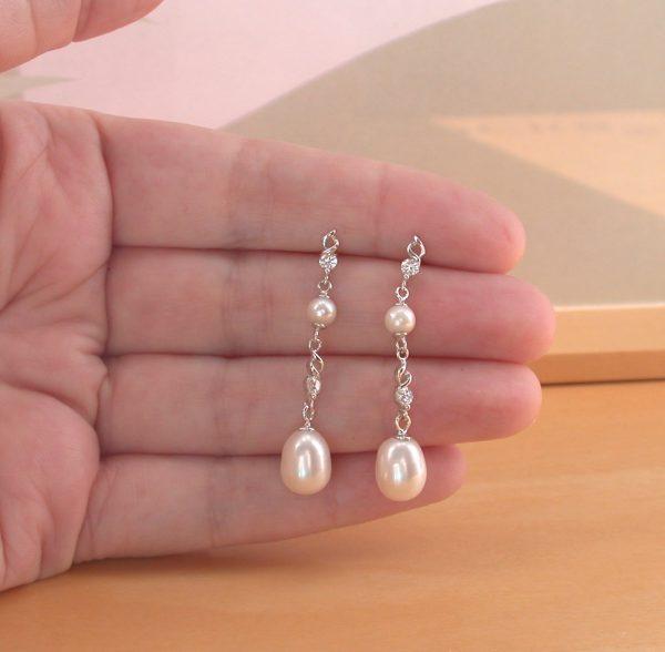 silver white pearl earrings