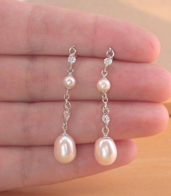 freshwater pearl Cz earrings