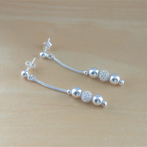silver bead earrings uk