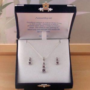 silver amethyst necklace & earrings