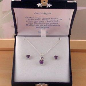 amethyst heart necklace & earrings