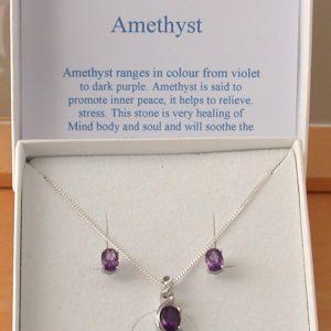 Amethyst Necklace & Earrings Gift Set