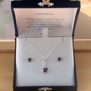 sterling silver amethyst necklace set
