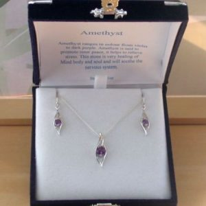 silver amethyst necklace and earrings