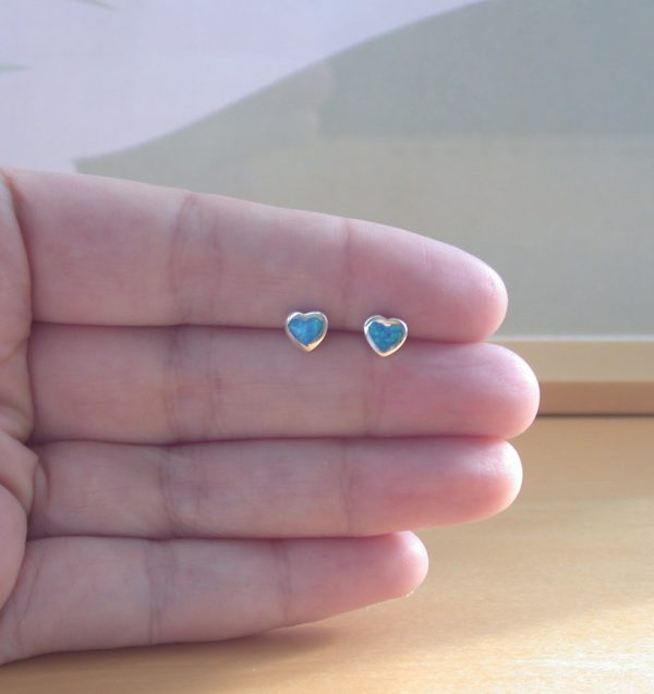 blue opal heart earrings