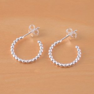 silver ball hoop earrings