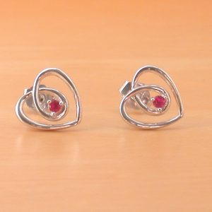 silver ruby heart earrings uk