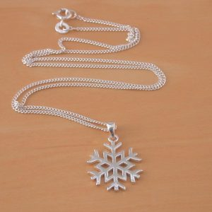 silver snowflake necklace uk