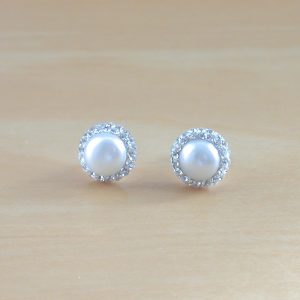freshwater pearl & cz earrings