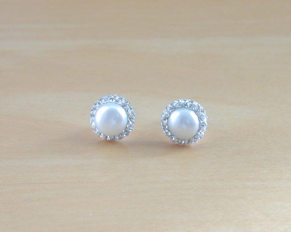 freshwater pearl & cz earrings