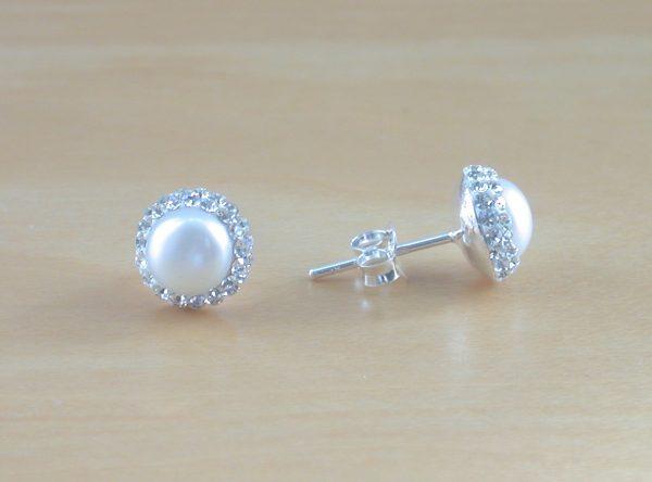 pearl & cz earrings uk