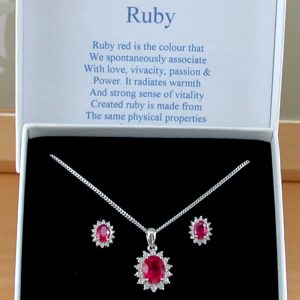 Ruby Necklace & Earring Gift Set