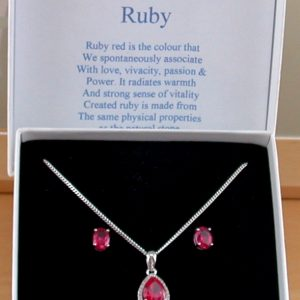 ruby necklace an earrings