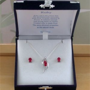 ruby necklace and earrings set
