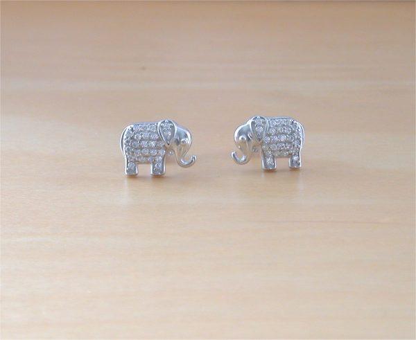 silver elephant stud earrings