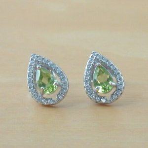 peridot and cz earrings