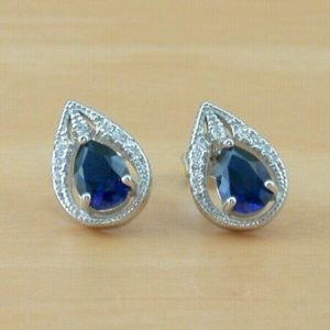sapphire and cz earrings