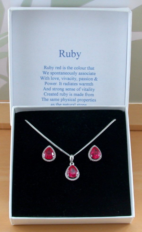 Ruby and Cz Necklace set