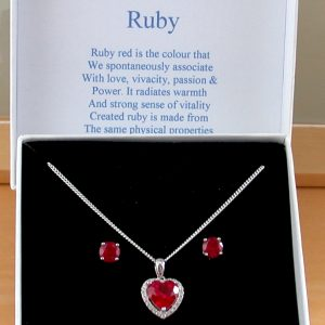 Ruby Heart Necklace and Earrings