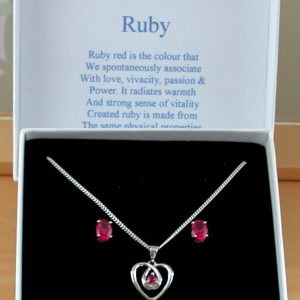 ruby necklace and earrings