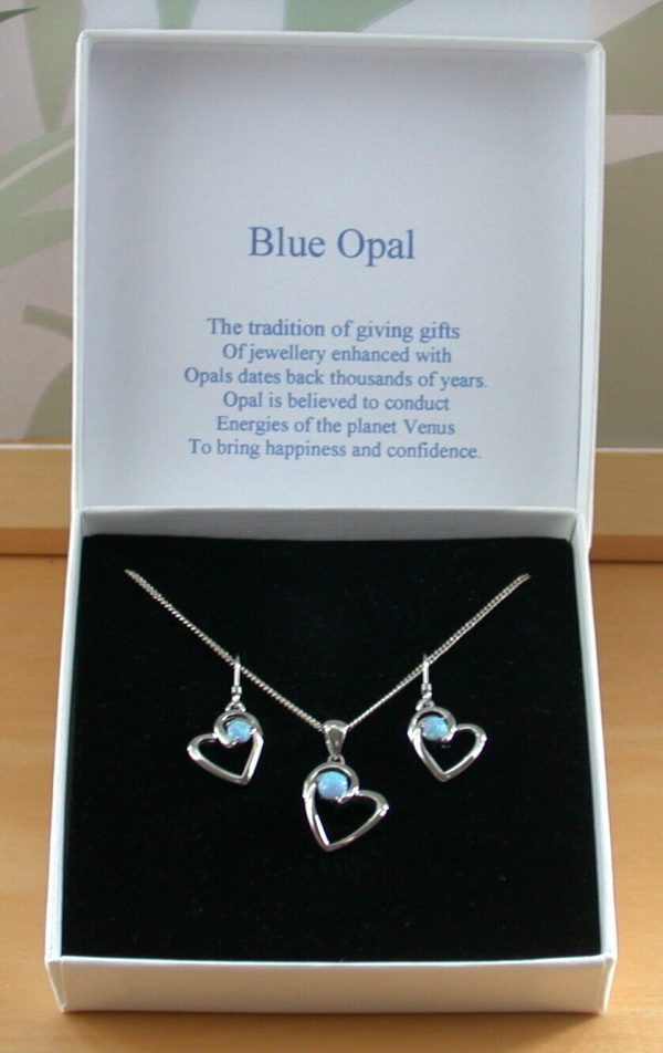 opal heart necklace and earrings