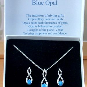 blue opal necklace and earrings
