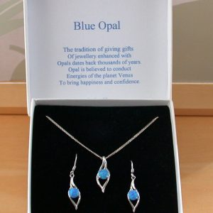 Blue Opal Necklace & Earring Gift Set