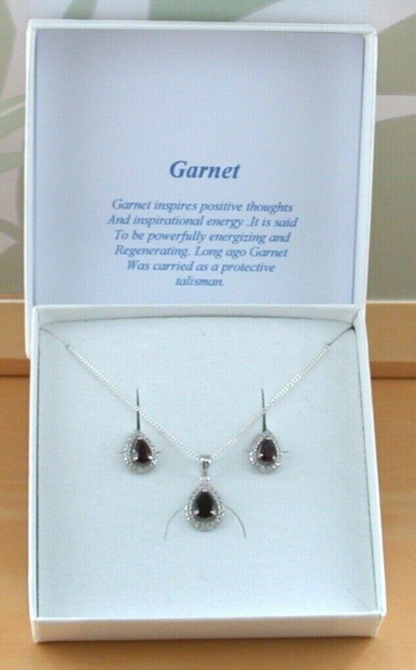 garnet and Cz necklace and earrings