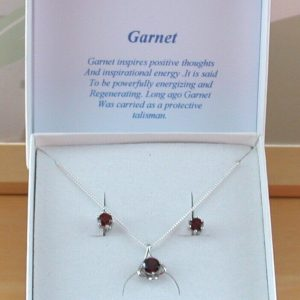 garnet necklace and earrings