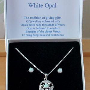 opal necklace & earrings