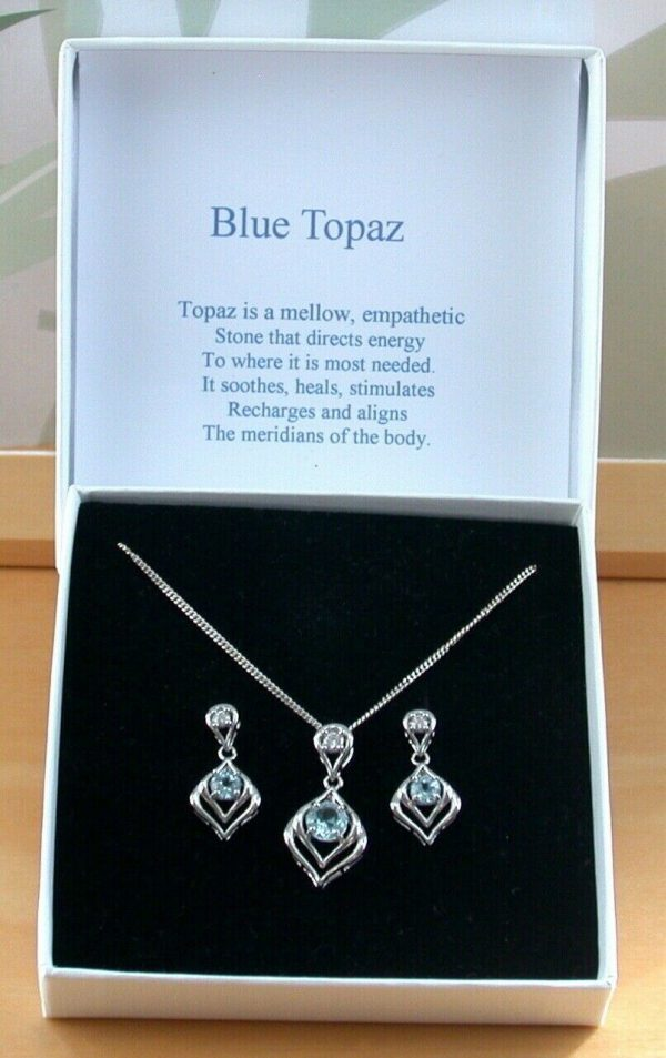 blue topaz necklace and earrings