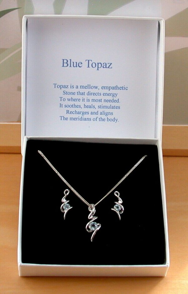 blue topaz necklace and earrings uk