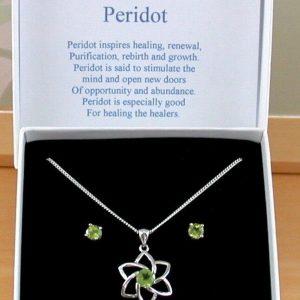 peridot necklace set