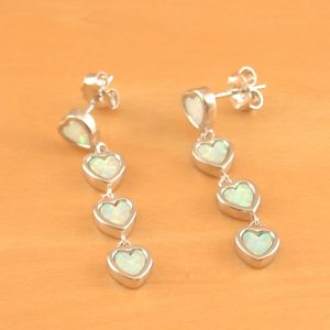white opal heart earrings