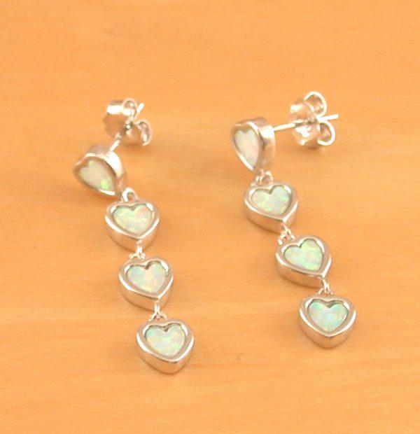 white opal heart earrings