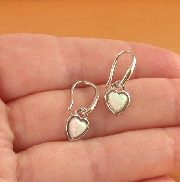 silver opal earrings
