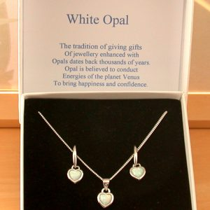 white opal heart necklace and earrings