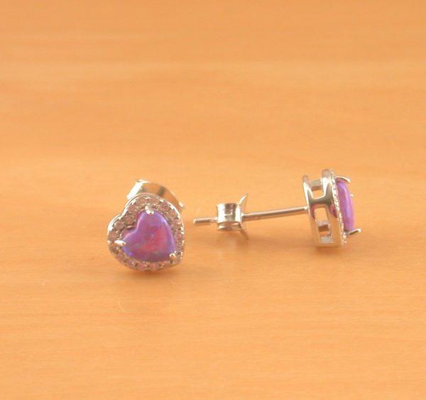 opal heart stud earrings