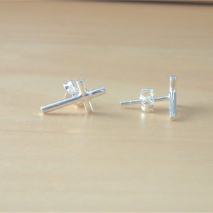 silver cross earrings uk