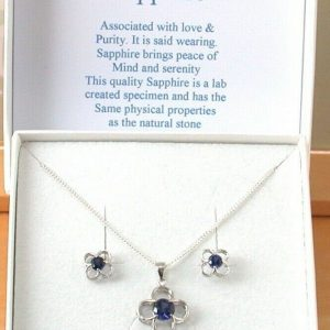 sapphire daisy necklace and earrings
