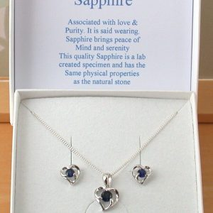 sapphire heart necklace and earrings