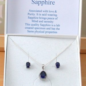sapphire necklace and earrings uk