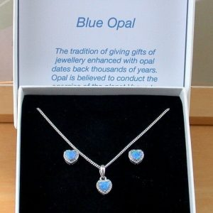 blue opal heart necklace and earrings