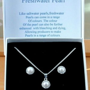 freshwater pearl cz necklace