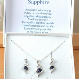 sapphire necklace and earrings