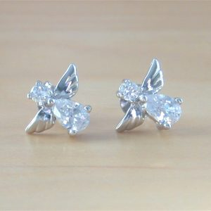 silver angel stud earrings