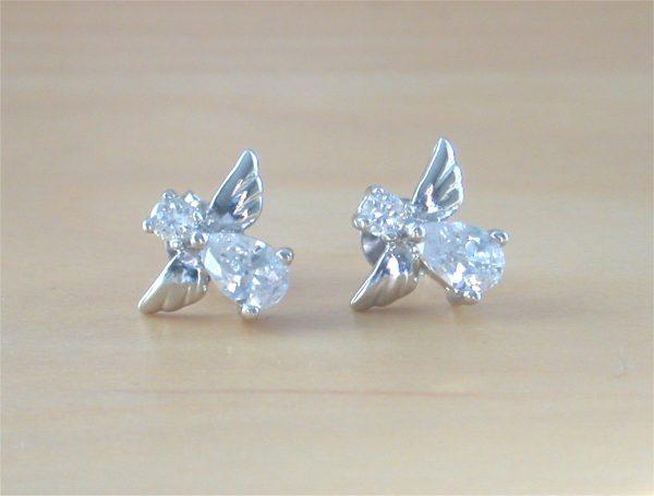 silver angel stud earrings